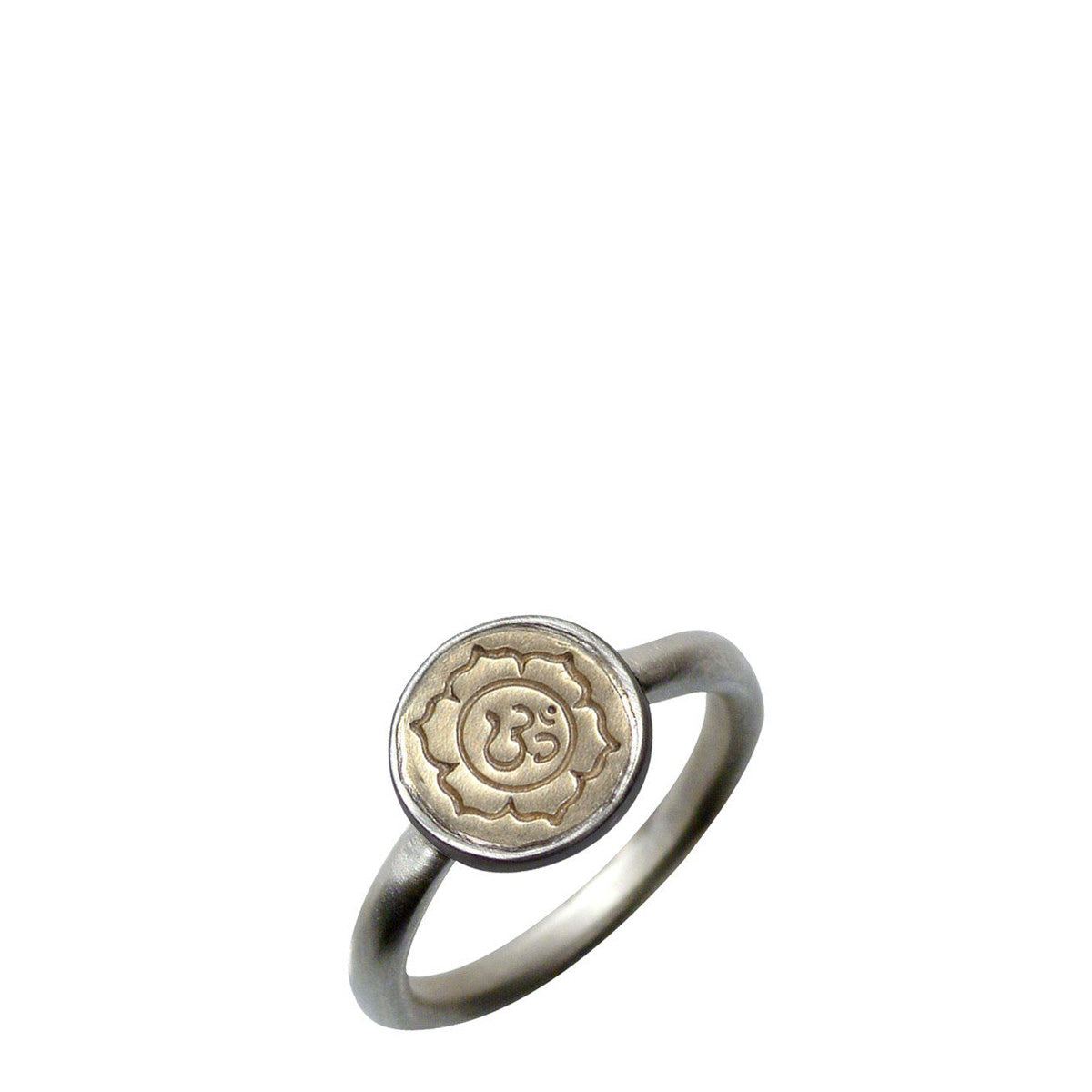 Sterling Silver & 10K Gold Tiny Chakra Flower Bezel Ring