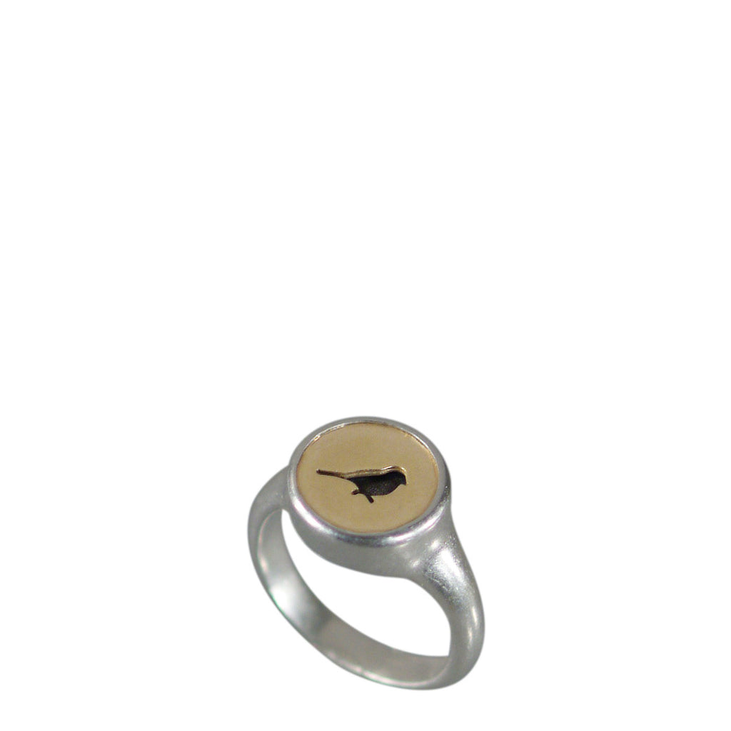 Sterling Silver & 10K Gold Bird Cut Out Ring