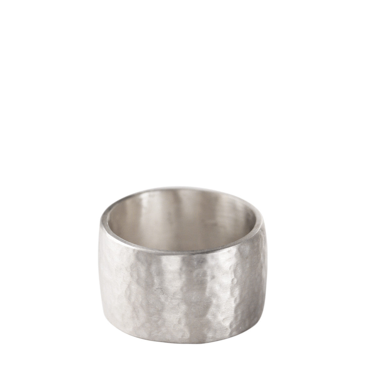 Men's Sterling Silver Wide Hammered Band