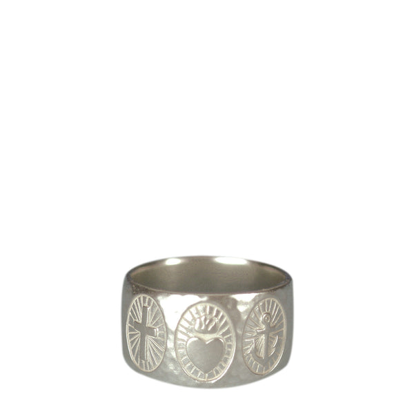 Sterling Silver Charity, Hope & Faith Hammered Wide Band