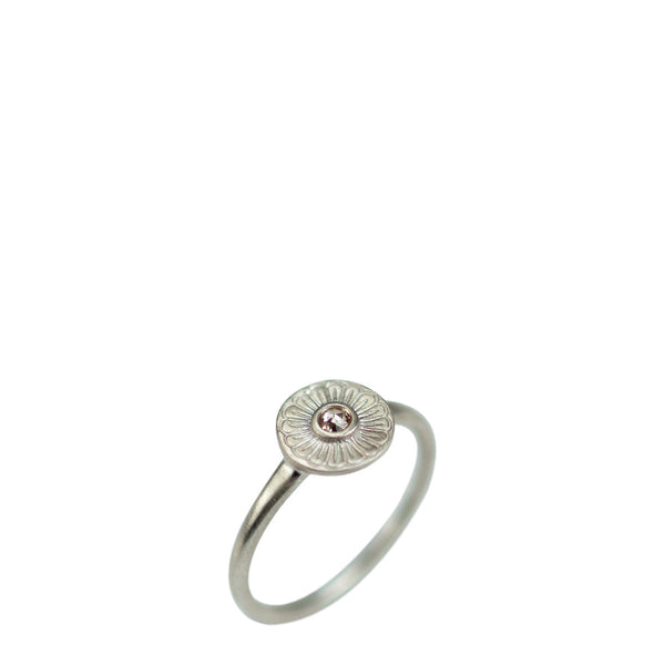 Sterling Silver Flower Ring with Brown Diamond