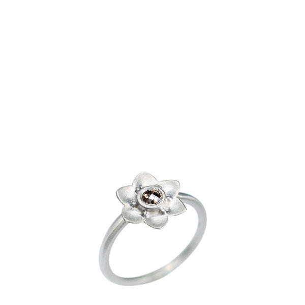 Sterling Silver Lotus Flower Ring with Brown Diamond