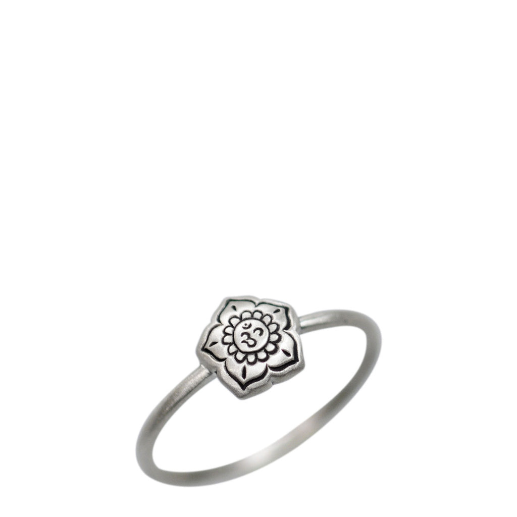 Sterling Silver Om Flower Ring