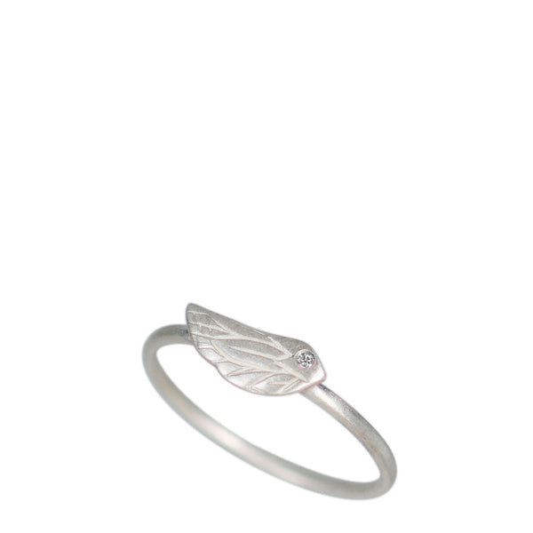 Sterling Silver Engraved Bird Ring with Diamond