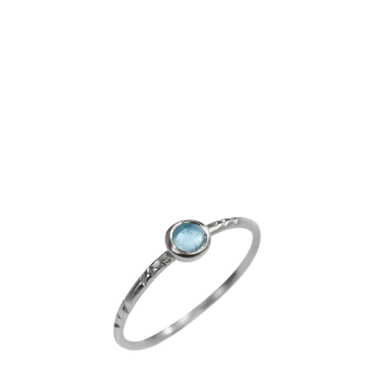Sterling Silver Single Engraved Band with Blue Topaz