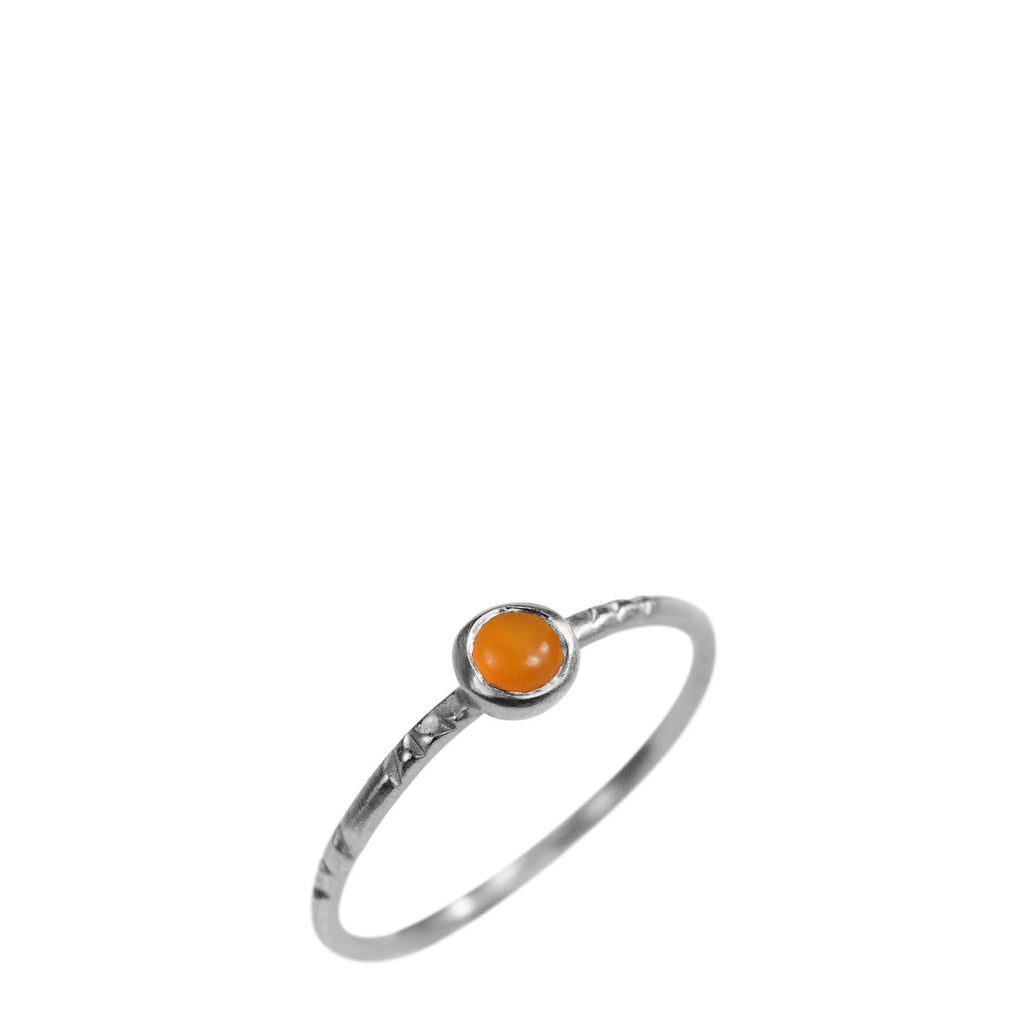 Sterling Silver Single Engraved Band with Carnelian