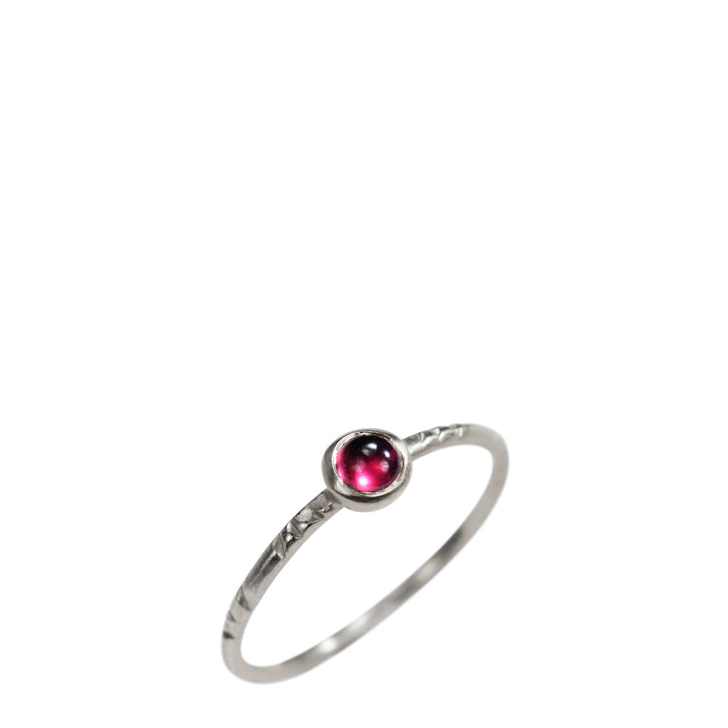 Sterling Silver Single Engraved Band with Garnet