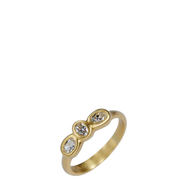 18K Gold Three Oval Diamond Ring
