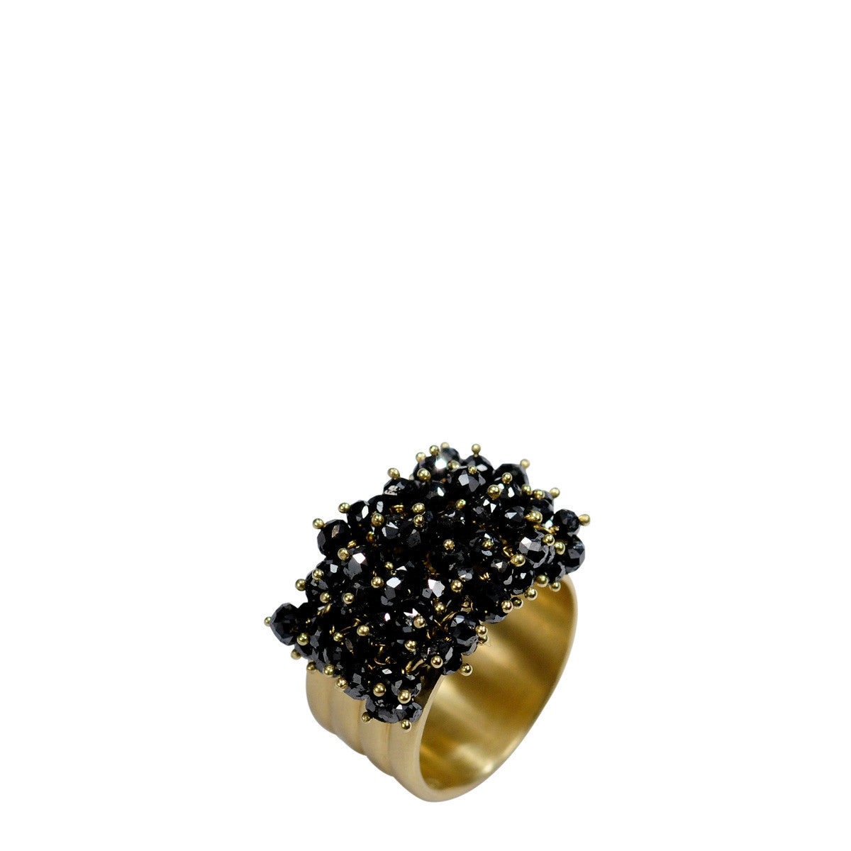 18K Gold Wide Band with Black Diamonds