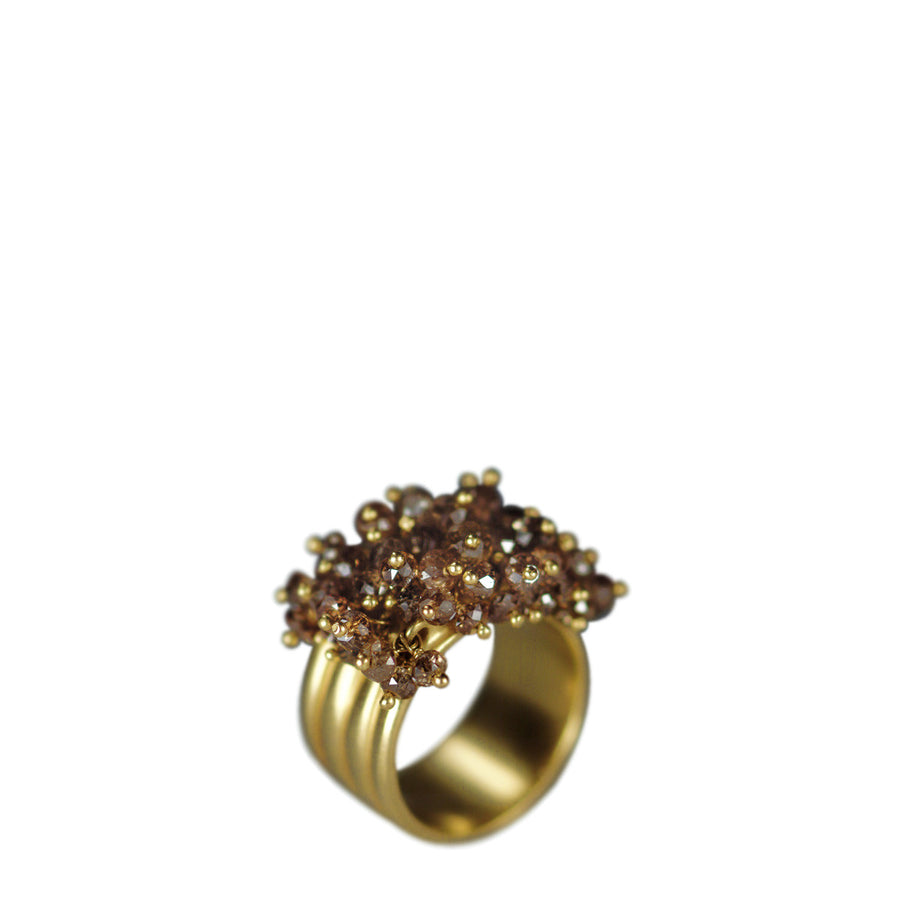 hexagon satomi brown diamond ring cognac kawakita ct products gem