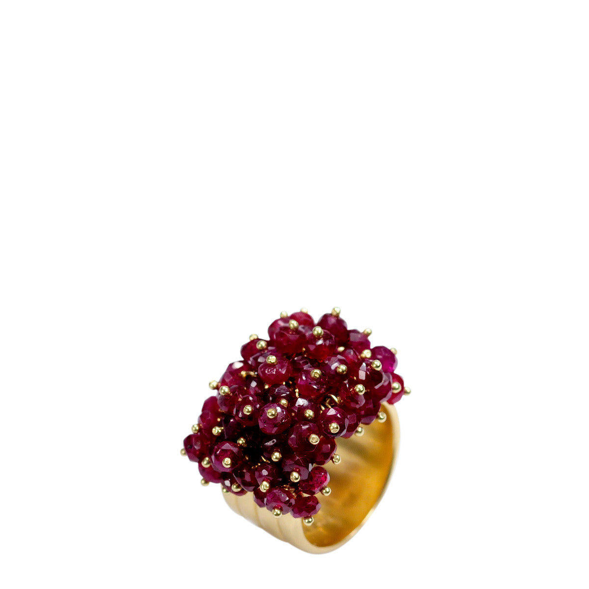 18K Gold Wide Band with Rubies