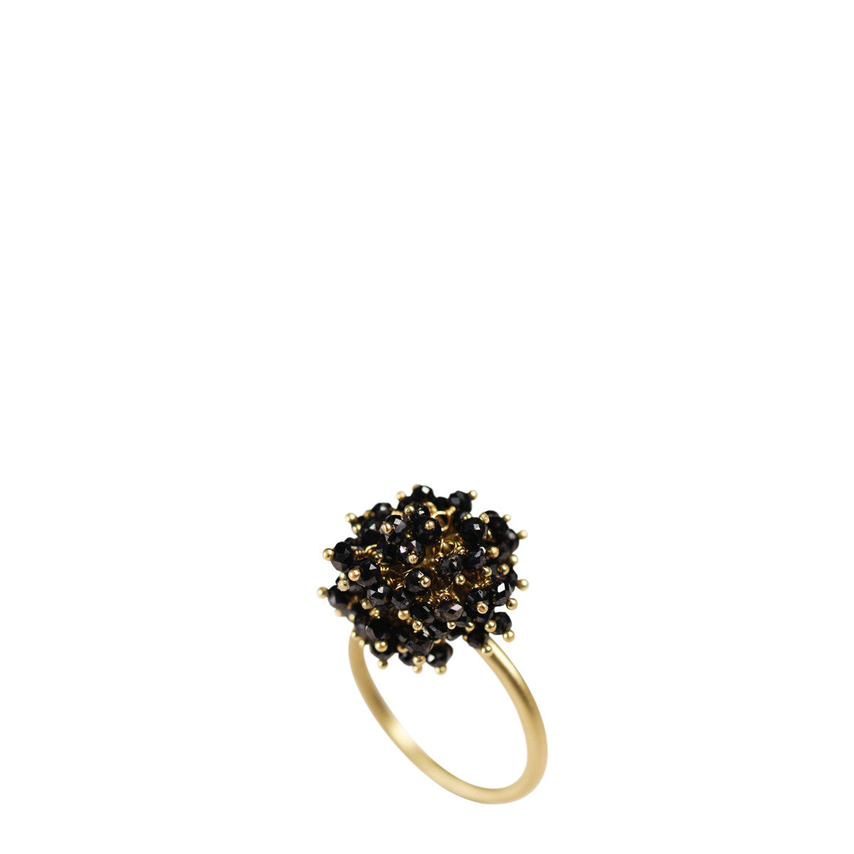 18K Gold All Black Diamond Bead Ring