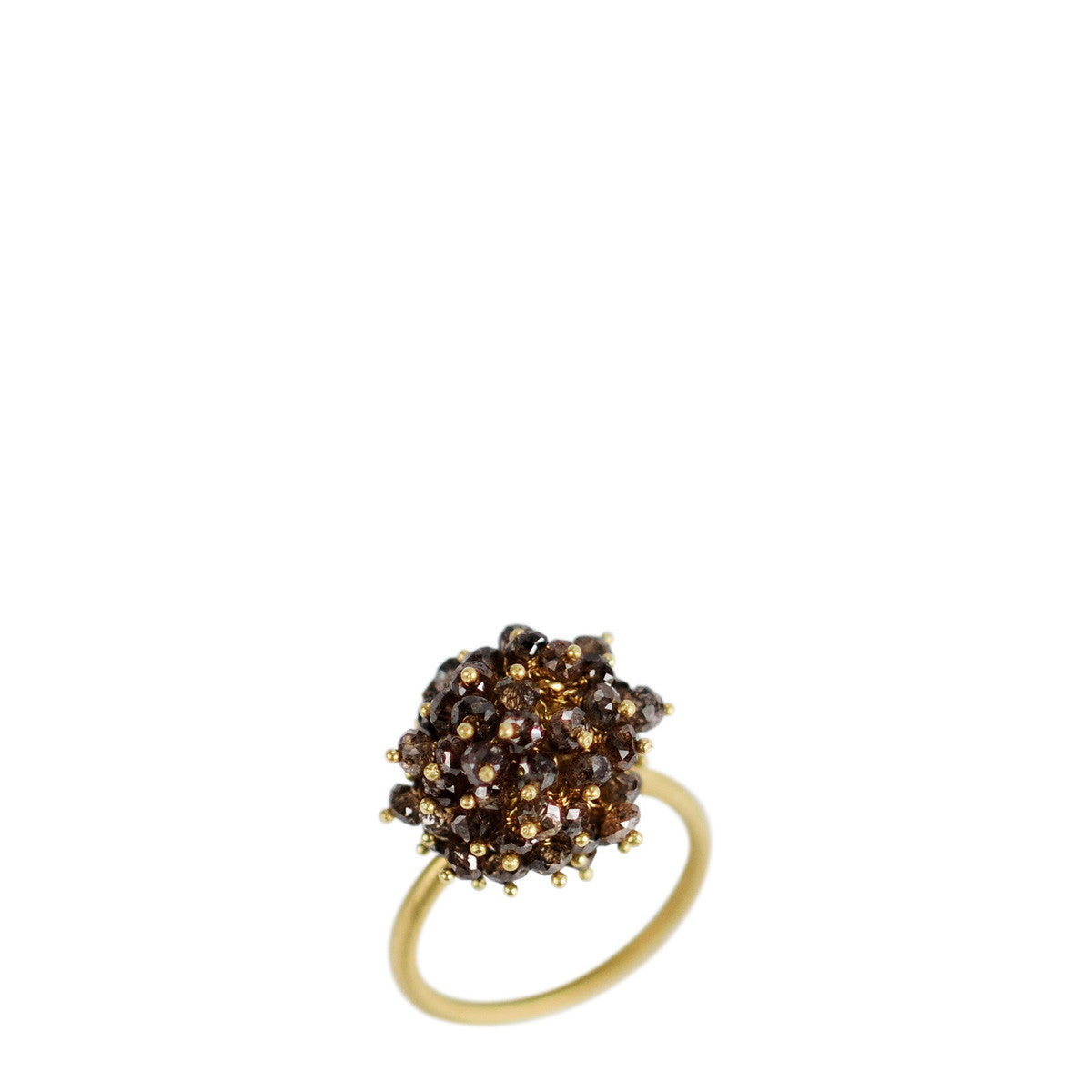 18K Gold All Brown Diamond Bead Ring