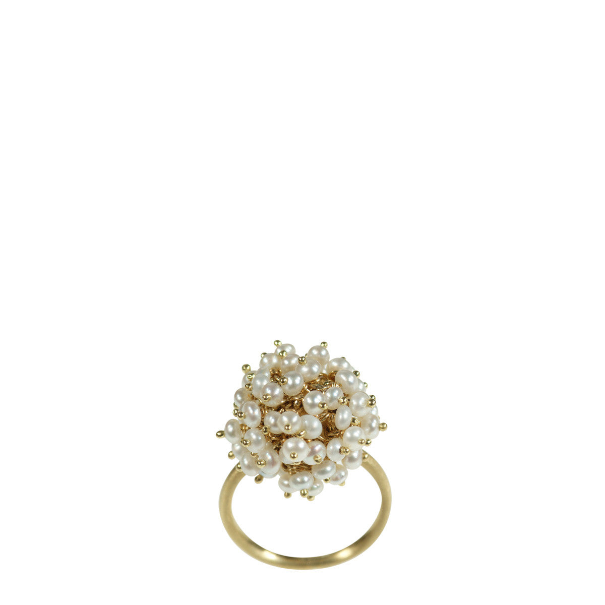18K Gold All Pearl Bead Ball Ring