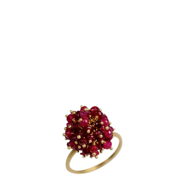 18K Gold All Ruby Bead Ring