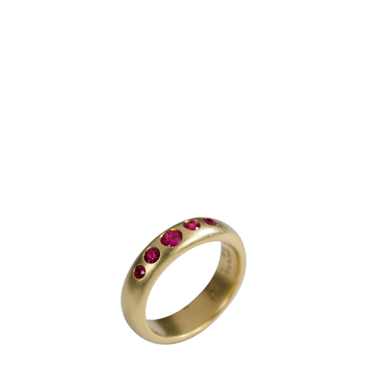 18K Gold 5 Ruby Band