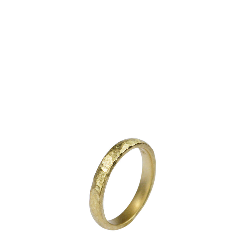 Men's 18K Gold 4mm Hammered Round Band