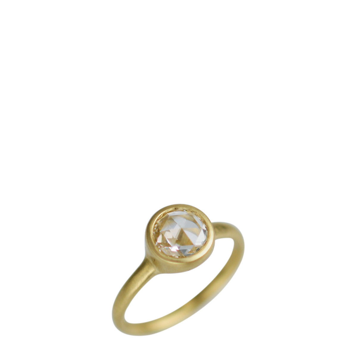 18K Gold 1 Carat Rose Cut Diamond Ring