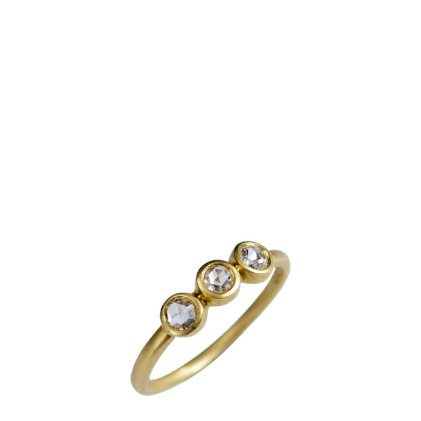 18K Gold Triple Rose Cut Diamond Ring