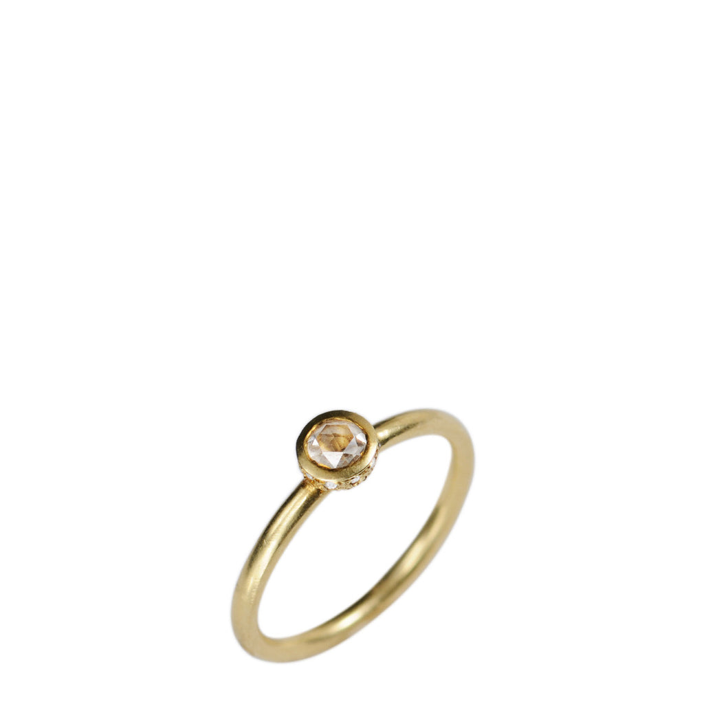 18K Gold Diamond Solitaire Ring with Pave Edge