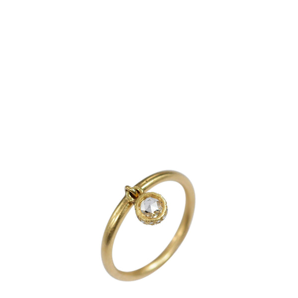 18K Gold 4MM Rose Cut Diamond Dangle Ring