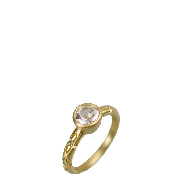 18K Gold 1 Carat Rose Cut Lotus Ring