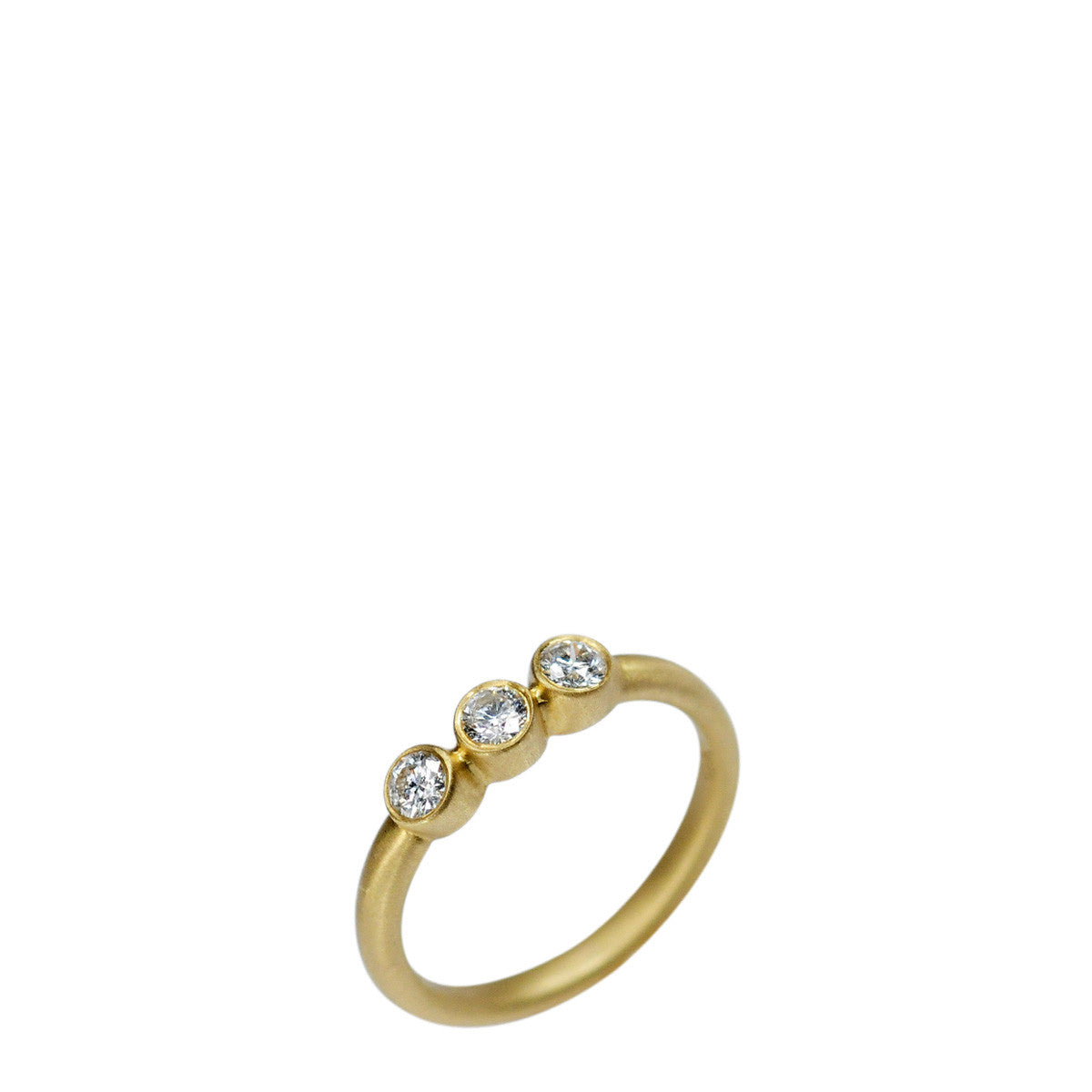 18K Gold Classic Triple Diamond Ring
