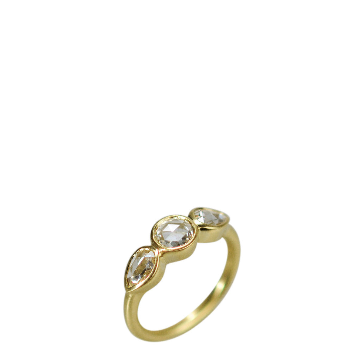 18K Gold Large Pear Shaped Rosecut Ring