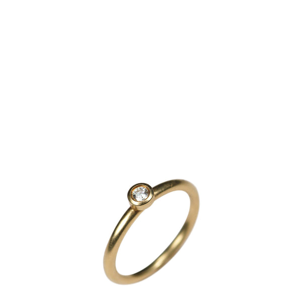 18K Gold Simple Diamond Ring