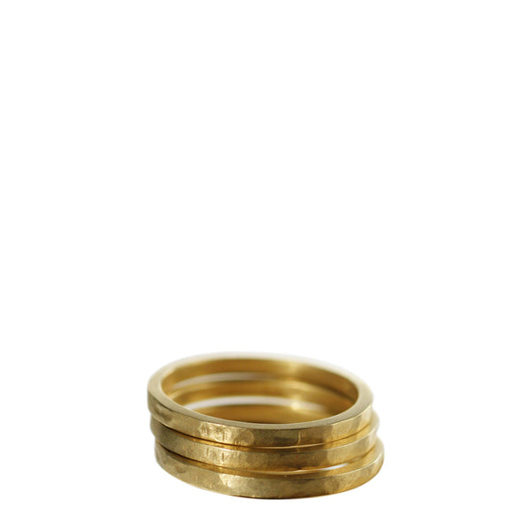 18K Gold Hammered Bands (set of 3)
