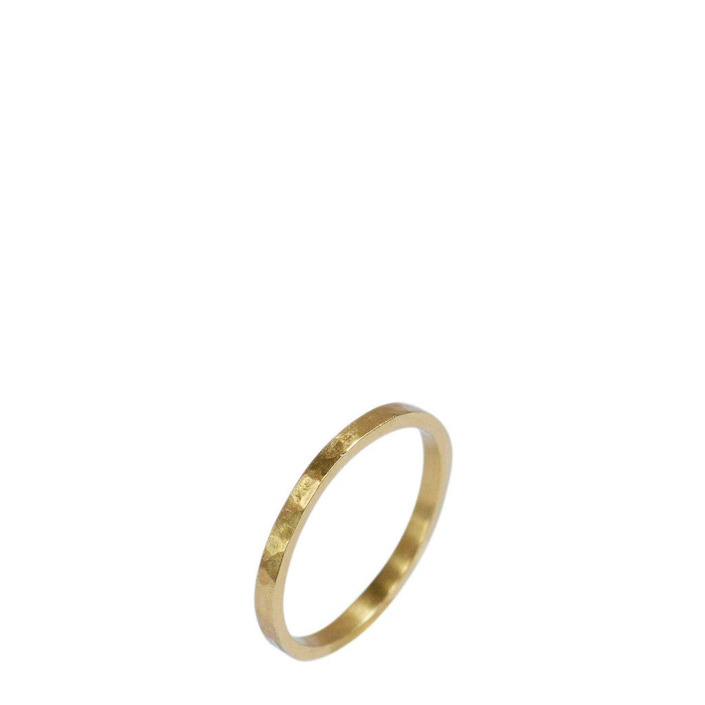 18K Gold Hammered Band