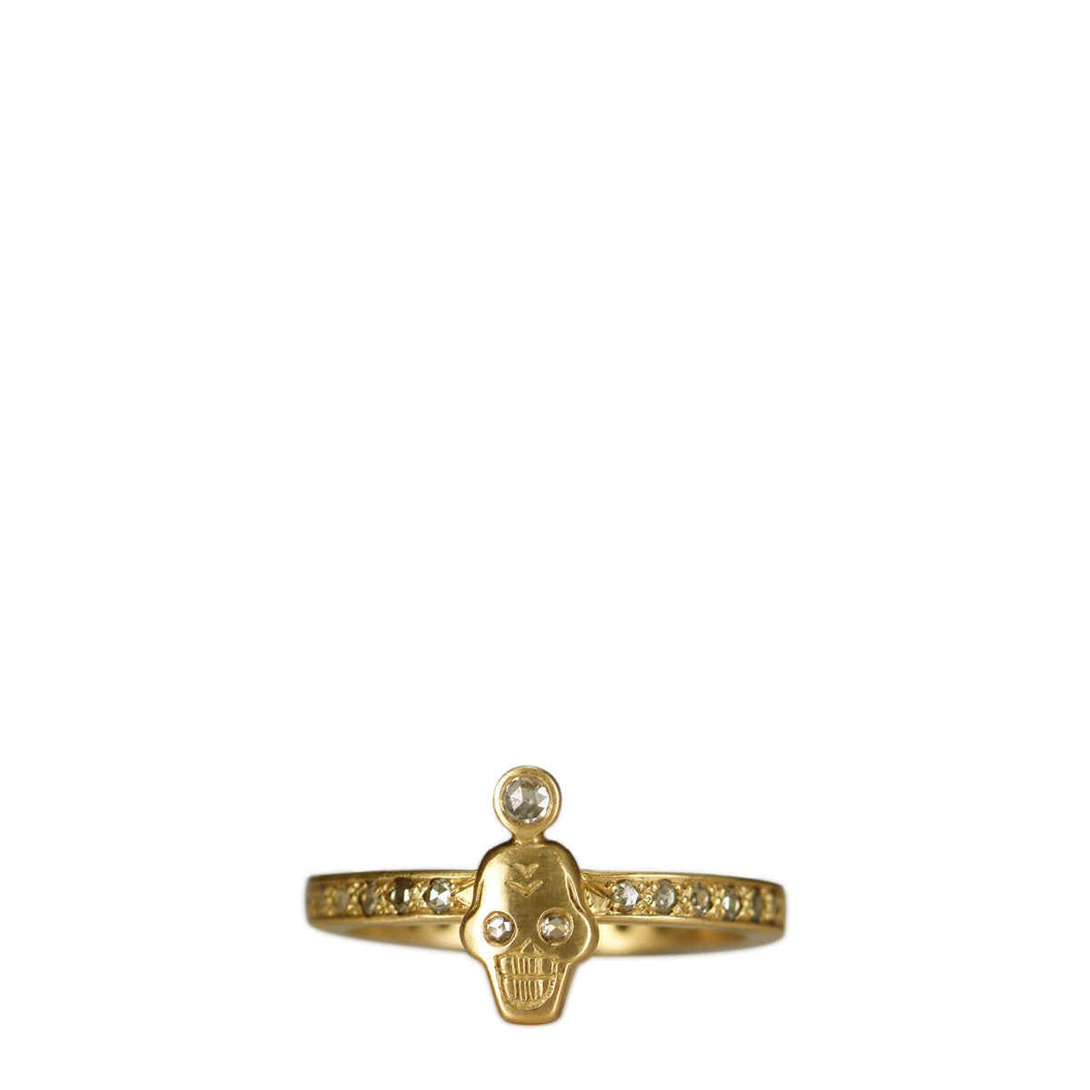 18K Gold Rose Cut Diamond Tiny Skull Ring with Crown