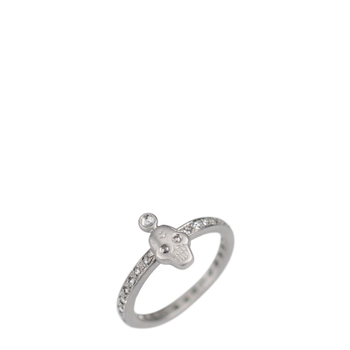 Platinum Rose Cut Diamond Skull Ring with Crown