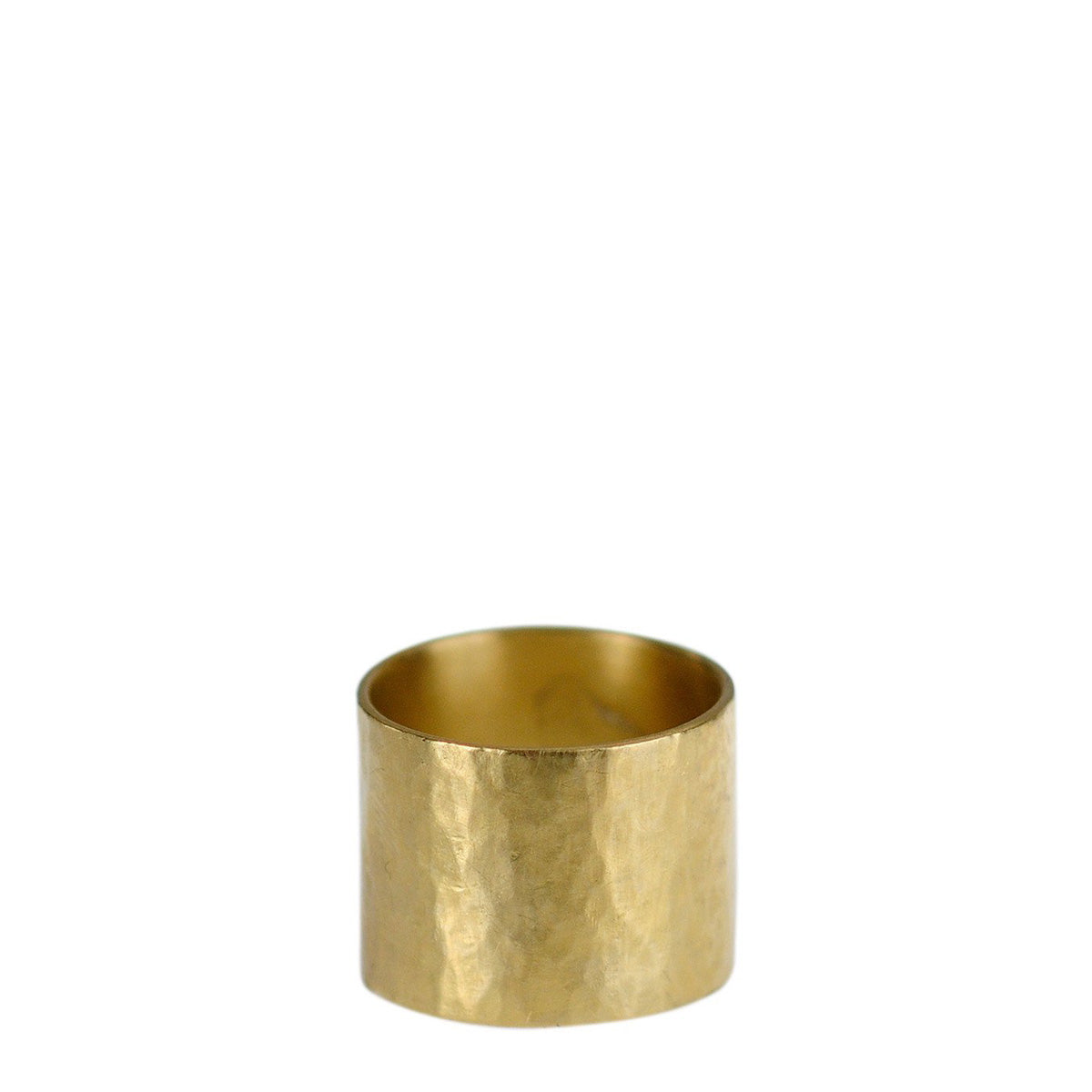 18K Gold Wide Hammered Band