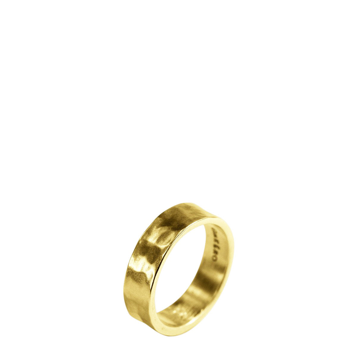 Men's 18K Gold 5.5mm Hammered Band