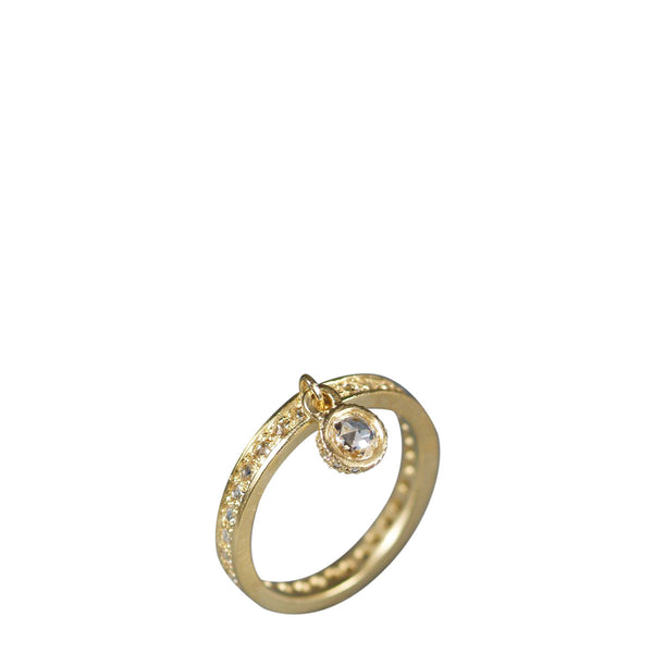 18K Gold 4mm Rose Cut Diamond Dangle Ring with Pave Band