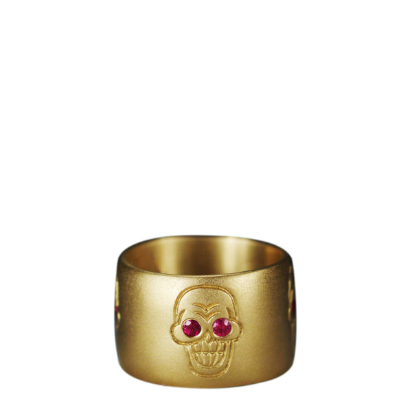 Men's 18K Gold Wide Skull Band with Rubies