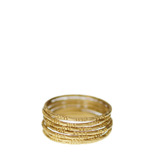 18K Gold Moroccan Rings (Set of 7)