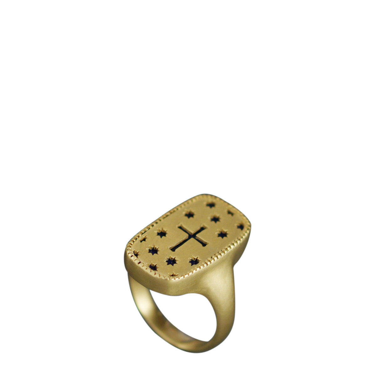18K Gold Cross and Stars Cut Out Ring with Lapis