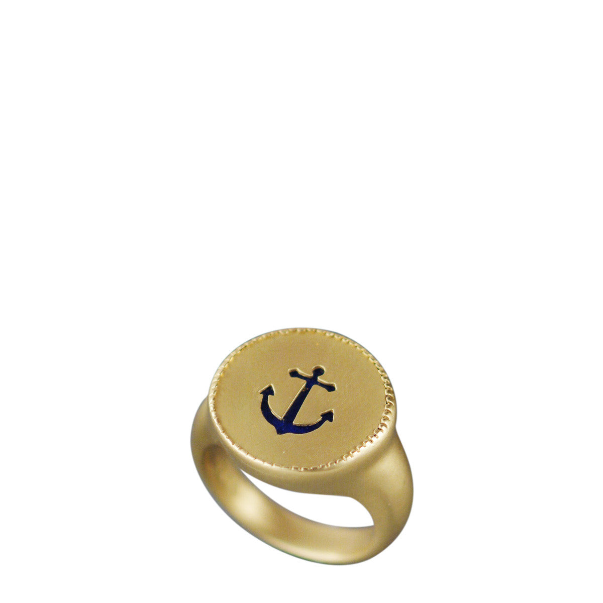 18K Gold Anchor Cut Out Ring with Lapis