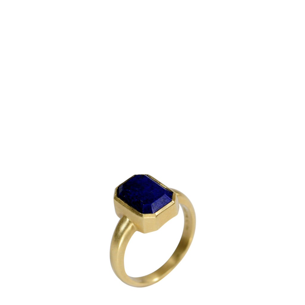 18K Gold Octagonal Lapis Ring