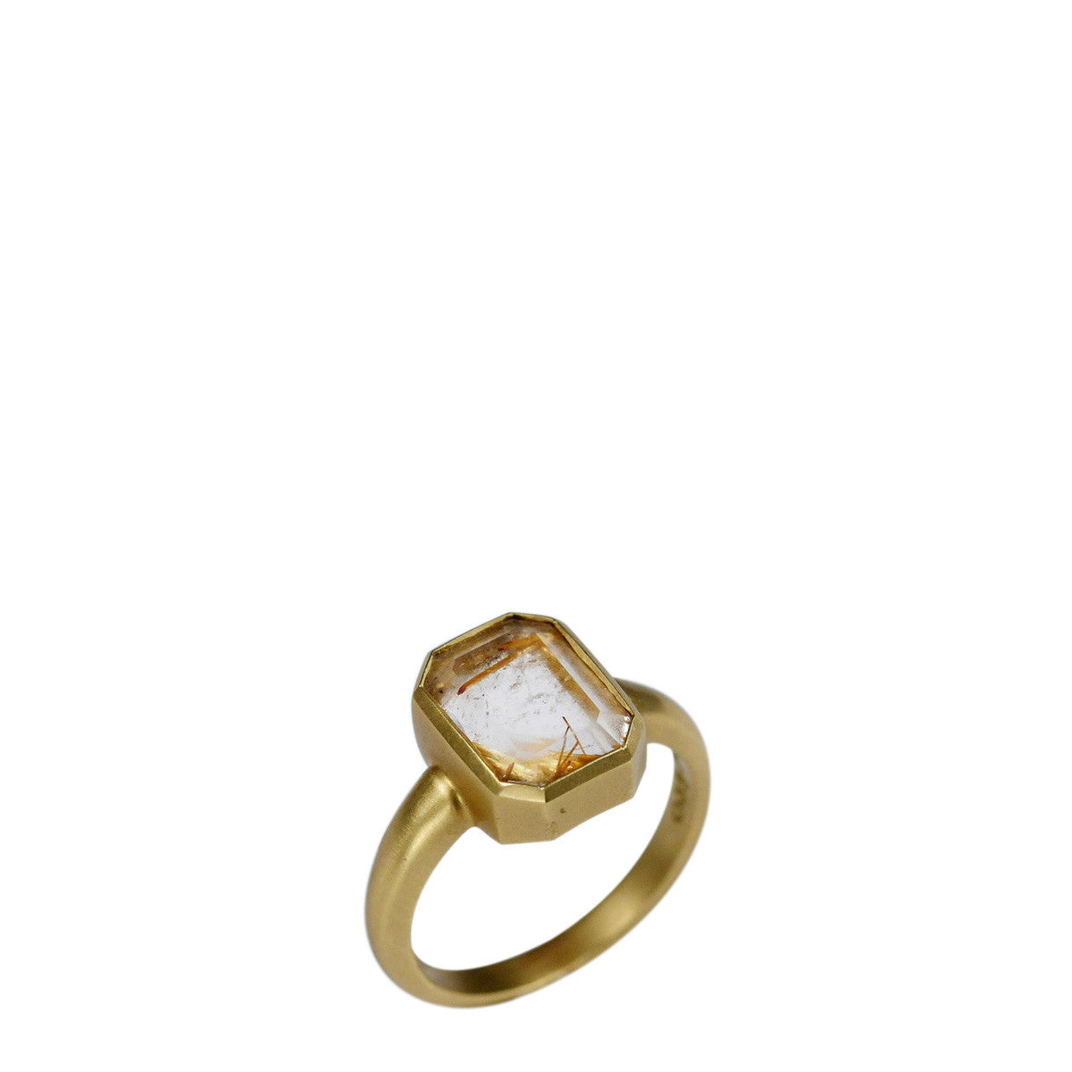 18K Gold Octagonal Rutilated Quartz Ring