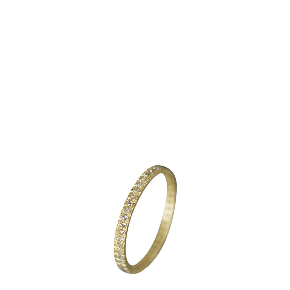 18K Gold 2mm Band with 1mm Indian Diamonds
