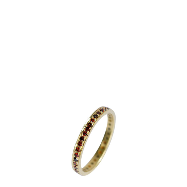18K Gold 2.5mm Band with 1.5mm Red Diamonds