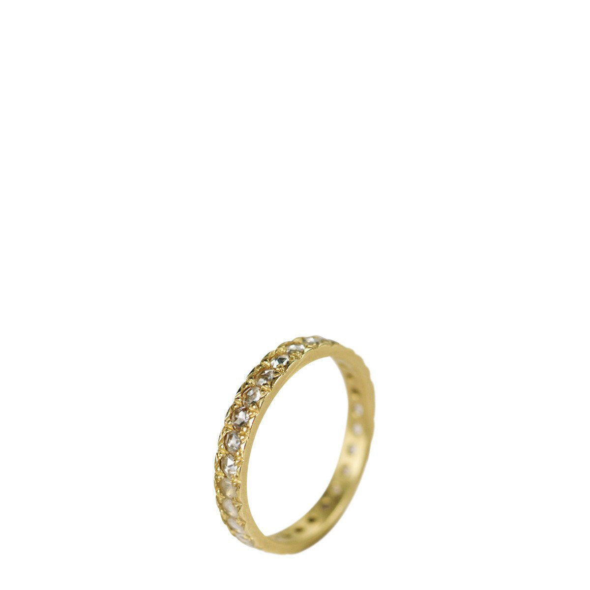 18K Gold 3mm Band with 2mm Indian Diamonds