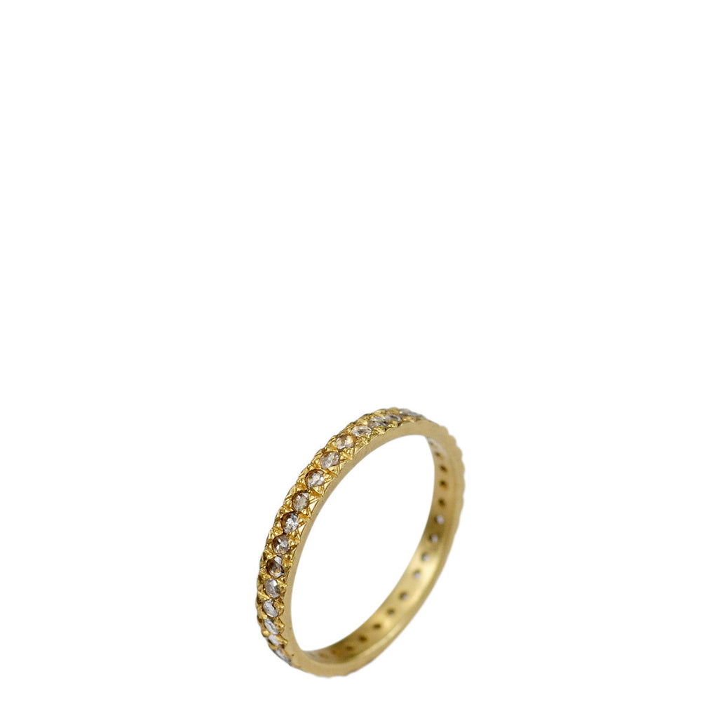 18K Gold 3.5mm Band with 2.5mm Indian Diamonds