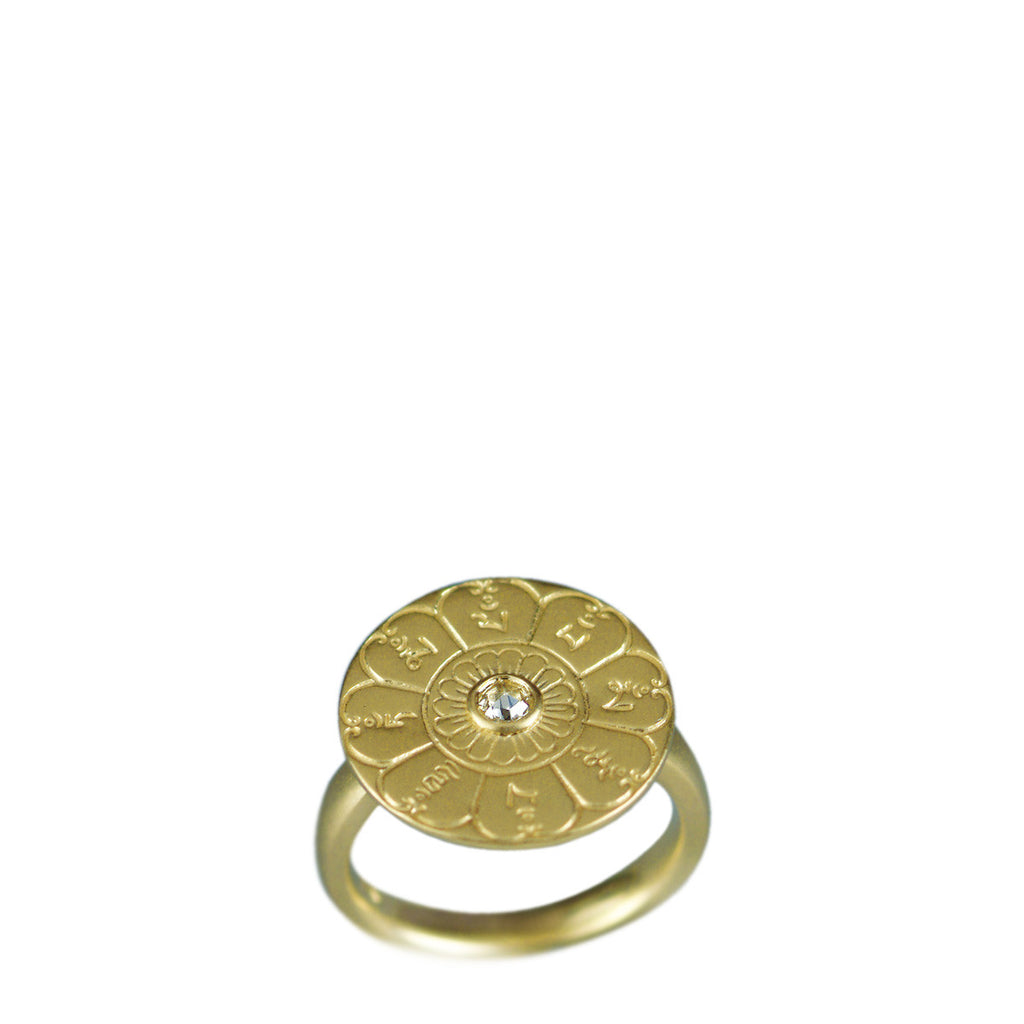 18K Gold Ritual Bell Ring with Diamond