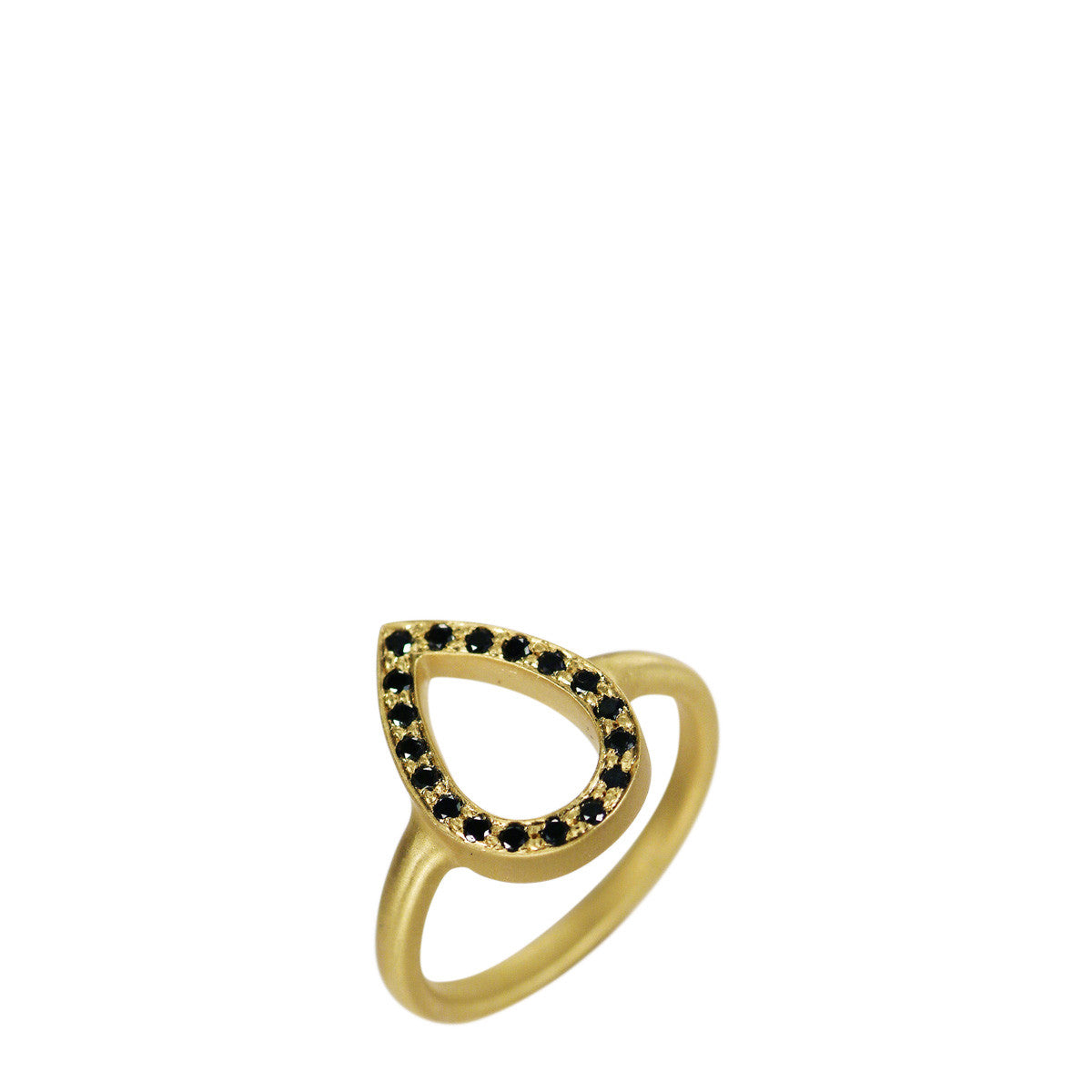 18K Gold Pave Teardrop Ring with Black Diamonds