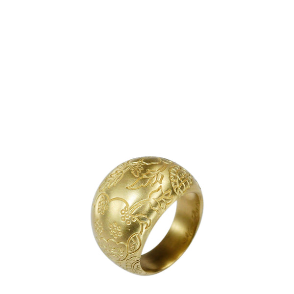 18K Gold Engraved Paisley Dome Ring