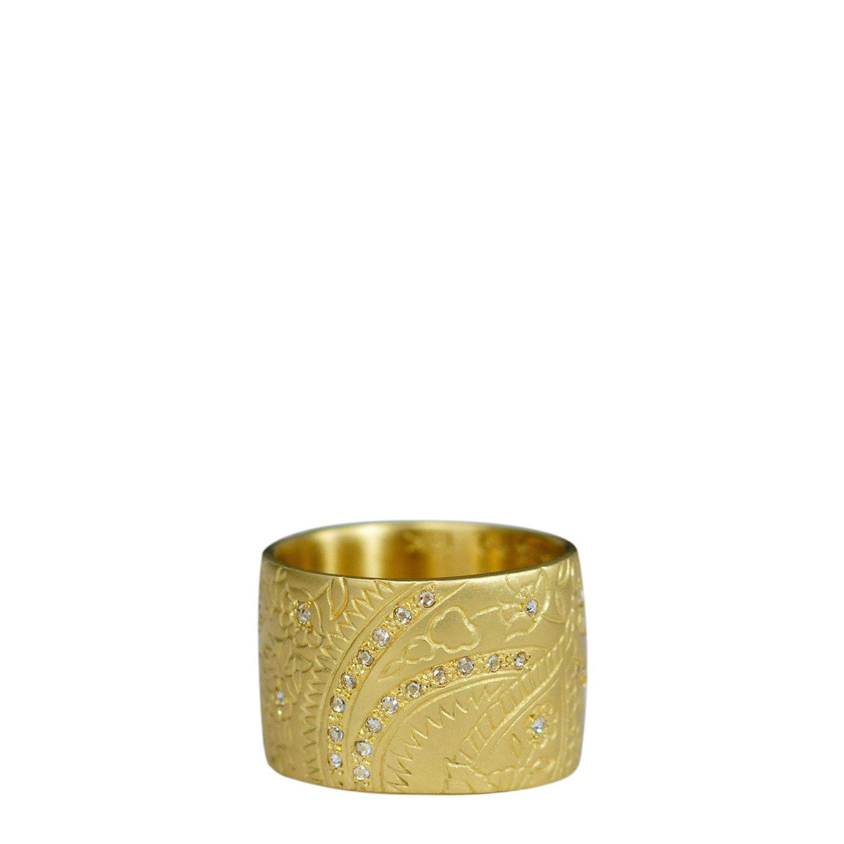 18K Gold Wide Engraved Paisley Band with Diamonds
